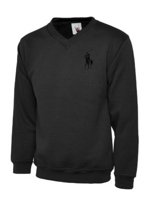 UC 204 Polo Black Embroidery Premium V-Neck Sweatshirt