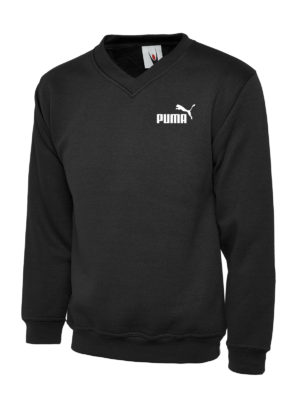 UC 204 Puma White Embroidery Premium V-Neck Sweatshirt