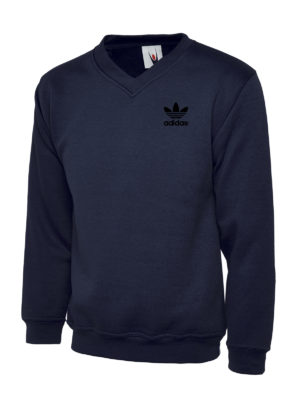 UC 204 Adidas Black Embroidery Premium V-Neck Sweatshirt